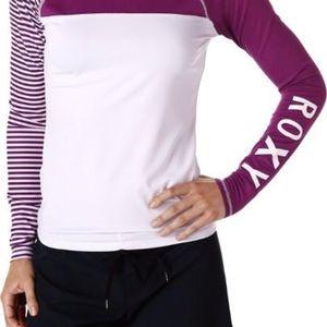 Purple & white roxy rash guard